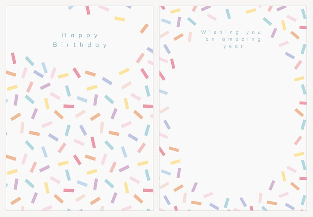 Plantilla de tarjeta de felicitación de cumpleaños psd con conjunto de espolvorear confeti