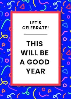 Plantilla de tarjeta de felicitación de cumpleaños psd con patrón de memphis azul