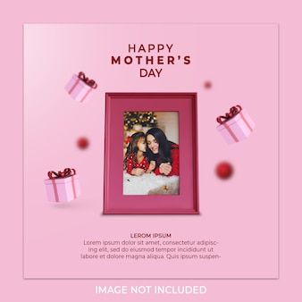 Plantilla de tarjeta de felicitación de feliz día de la madre, tamaño cuadrado