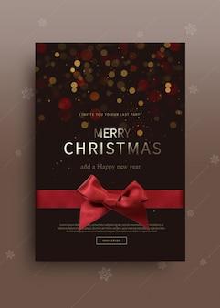 Plantilla de tarjeta de felicitación feliz navidad y feliz año nuevo 2020