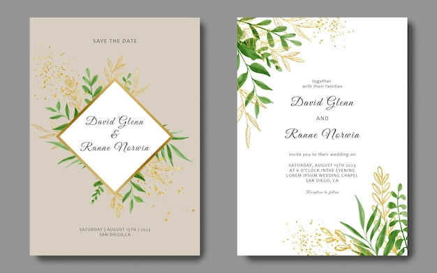 Plantilla de tarjeta de invitación de boda con acuarela y hojas doradas