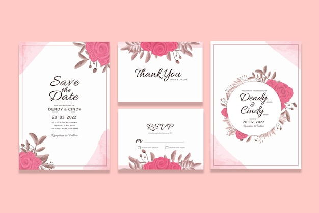 Plantilla de tarjeta de invitación de boda con adornos florales de acuarela