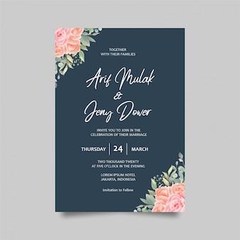 Plantilla de tarjeta de invitación de boda decoración acuarela rosas y color azul