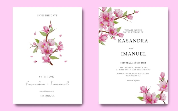 Plantilla de tarjeta de invitación de boda con decoración de flor de cerezo rosa acuarela