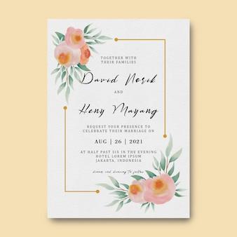 Plantilla de tarjeta de invitación de boda con decoración de flores de acuarela y marco dorado
