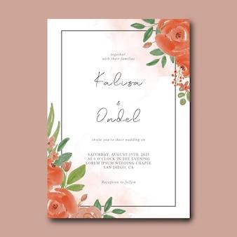 Plantilla de tarjeta de invitación de boda con decoración de flores de acuarela