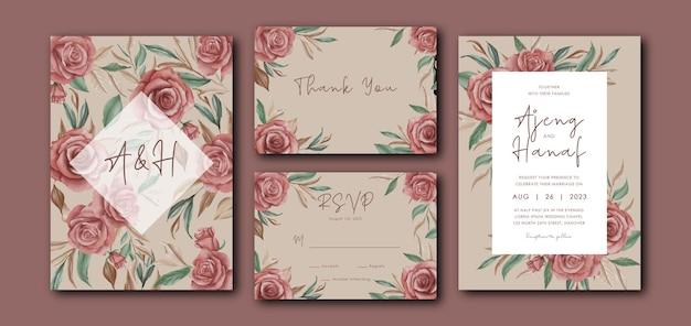 Plantilla de tarjeta de invitación de boda con decoración de flores rosas de acuarela