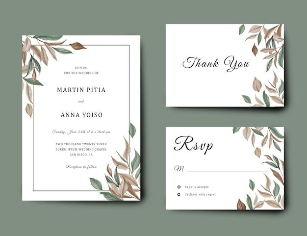 Plantilla de tarjeta de invitación de boda con decoración de marco de hoja de acuarela