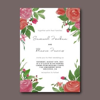 Plantilla de tarjeta de invitación de boda con decoración de ramo de flores de acuarela