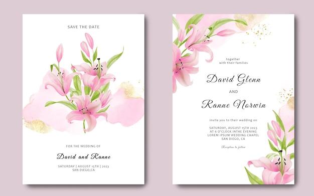 Plantilla de tarjeta de invitación de boda con flores de lirio de acuarela