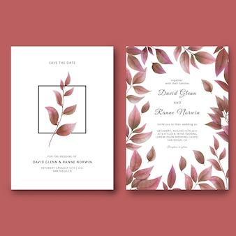 Plantilla de tarjeta de invitación de boda y guarde la tarjeta de fecha con hoja seca de acuarela