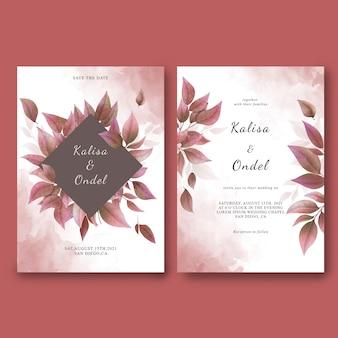 Plantilla de tarjeta de invitación de boda y guarde la tarjeta de fecha con hojas secas de acuarela