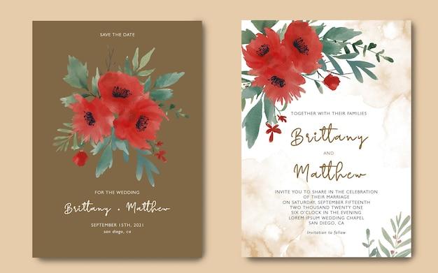 Plantilla de tarjeta de invitación de boda con un hermoso ramo de flores de acuarela