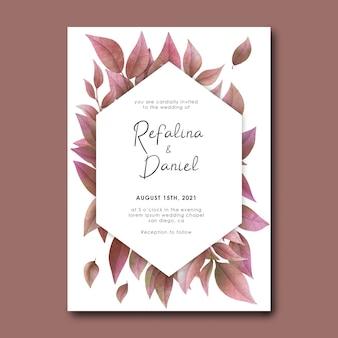 Plantilla de tarjeta de invitación de boda con hojas secas de acuarela