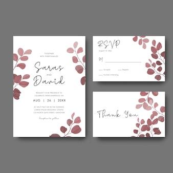 Plantilla de tarjeta de invitación de boda con marco de hoja de eucalipto en acuarela