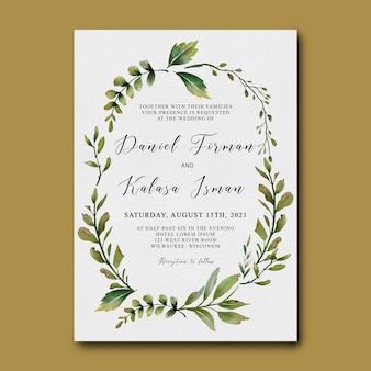Plantilla de tarjeta de invitación de boda con un marco de hojas