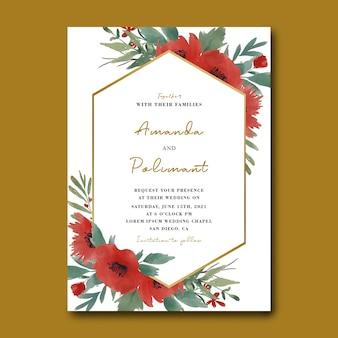 Plantilla de tarjeta de invitación de boda con ramo de flores de acuarela y marco dorado