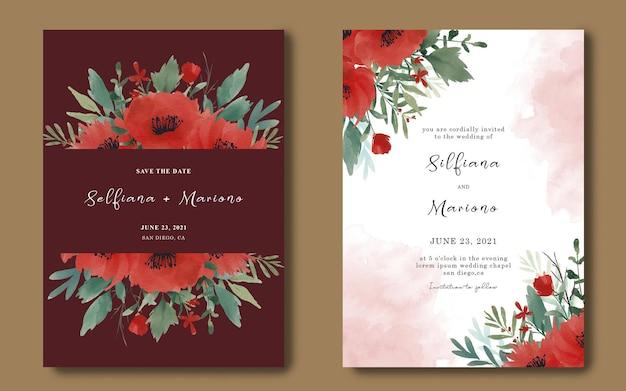 Plantilla de tarjeta de invitación de boda con ramo de flores rojas acuarela
