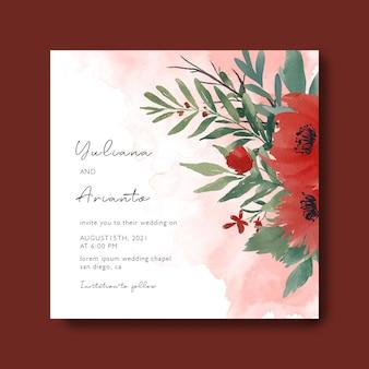 Plantilla de tarjeta de invitación de boda con un ramo de hojas de acuarela