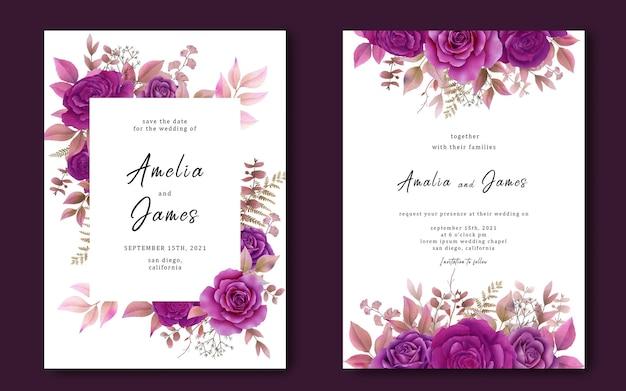 Plantilla de tarjeta de invitación de boda con un ramo de rosas púrpuras acuarelas