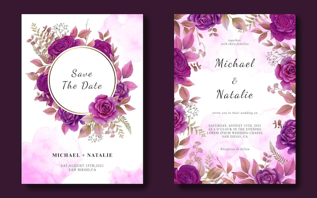 Plantilla de tarjeta de invitación de boda con rosas púrpuras acuarelas