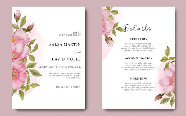Plantilla de tarjeta de invitación de boda y tarjeta de detalles con rosas acuarelas