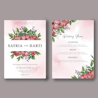 Plantilla de tarjeta de invitación de boda y tarjeta de menú de boda con decoraciones florales de acuarela
