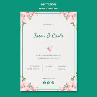 Plantilla de tarjeta de invitación con boda