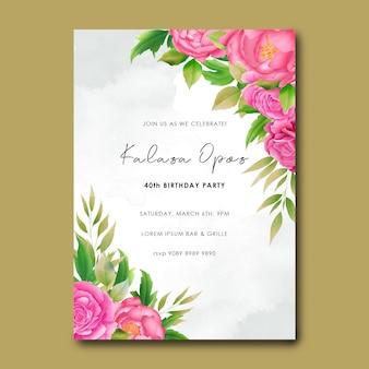 Plantilla de tarjeta de invitación de cumpleaños con ramo de flores de acuarela