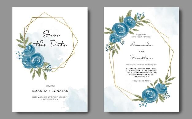 Plantilla de tarjeta de invitación con decoración de marco geométrico de flor floral acuarela