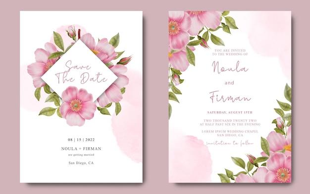 Plantilla de tarjeta de invitación con rosas acuarelas