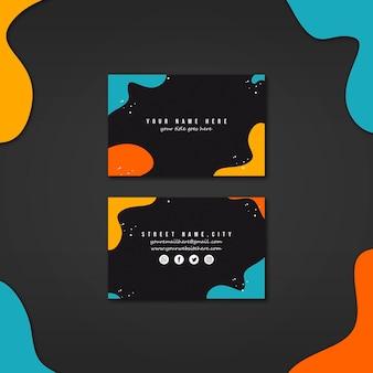 Plantilla de tarjeta de negocios con colores abstractos vívidos