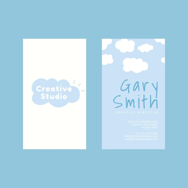 Plantilla de tarjeta de nombre psd en patrón de nubes y cielo azul