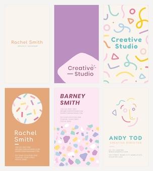 Plantilla de tarjeta de nombre psd en patrones de colores pastel suaves