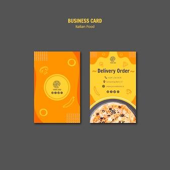 Plantilla de tarjeta de visita para bistro de comida italiana