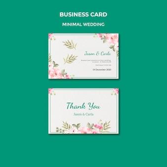 Plantilla de tarjeta de visita con boda