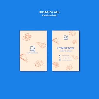 Plantilla de tarjeta de visita con comida americana