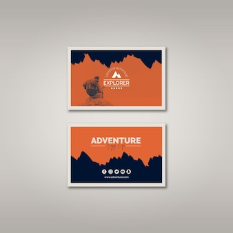 Plantilla de tarjeta de visita con concepto de aventura