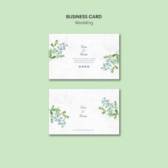 Plantilla de tarjeta de visita de concepto de boda