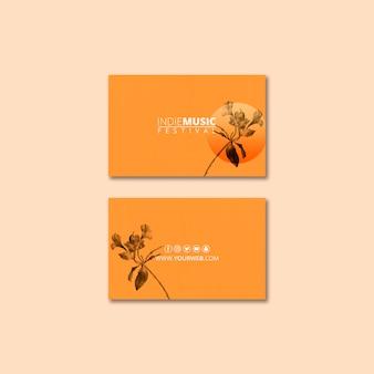 Plantilla de tarjeta de visita con concepto de festival de primavera