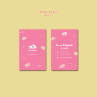Plantilla de tarjeta de visita con concepto de macarons