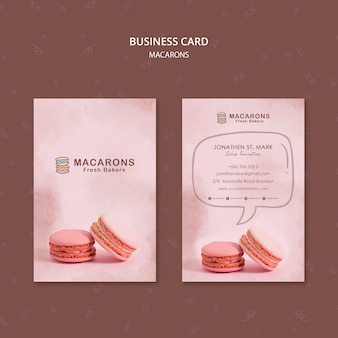 Plantilla de tarjeta de visita de concepto macarons