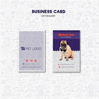 Plantilla de tarjeta de visita para el cuidado de mascotas