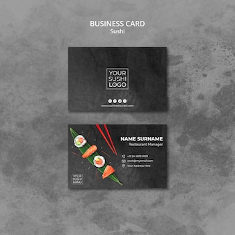 Plantilla de tarjeta de visita con día de sushi