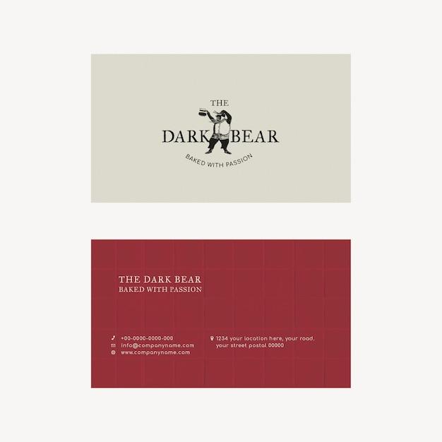 Plantilla de tarjeta de visita editable psd diseño de identidad corporativa retro