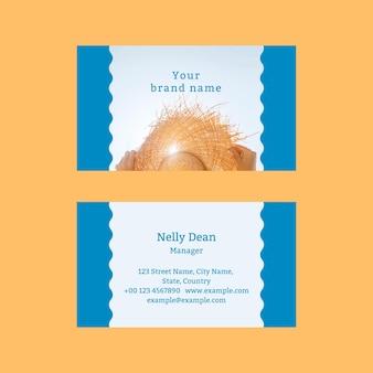Plantilla de tarjeta de visita editable psd tema tropical de verano