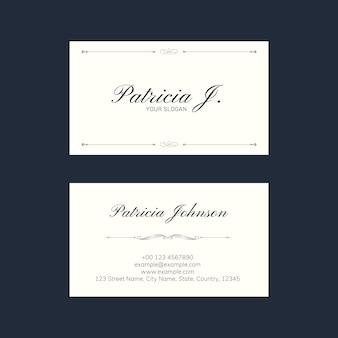 Plantilla de tarjeta de visita elegante psd con adornos vintage