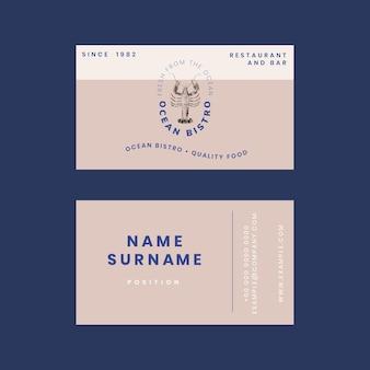 Plantilla de tarjeta de visita estética psd para restaurante, remezclada de obras de arte de dominio público