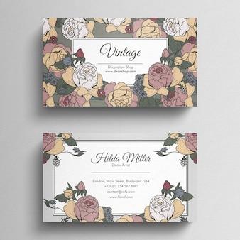 Plantilla de tarjeta de visita floral vintage
