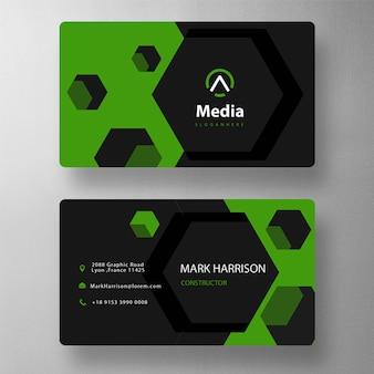 Plantilla de tarjeta de visita con forma hexagonal